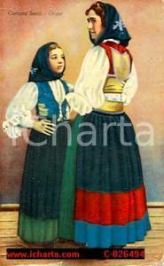 1930 ca ORUNE (NU) Donna e bambina in costume sardo *Cartolina ILLUSTRATA FP NV
