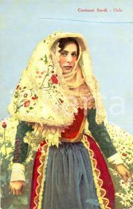 1920 ca OSILO (SASSARI) Giovane donna in tipico costume sardo *Cartolina FP NV