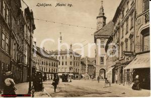 1920 Ljubljana Lubiana Slovenia *Città animata con Tram