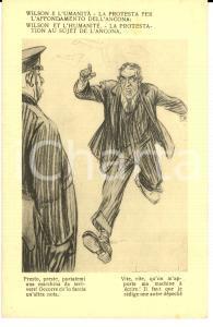 1917 WW1 SATIRA DI GUERRA Wilson e l'affondamento dell'ANCONA *Cartolina FP NV