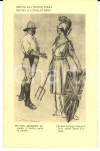 1917 WW1 SATIRA DI GUERRA Louis BOTHA all'Inghilterra *Cartolina FP NV
