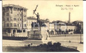 1918 BOLOGNA Veduta di piazza 8 Agosto *Cartolina ANIMATA FP VG