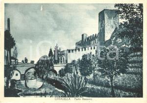 1950 CITTADELLA (PD) Panorama Porta Bassano ILLUSTRATA *Cartolina FG VG