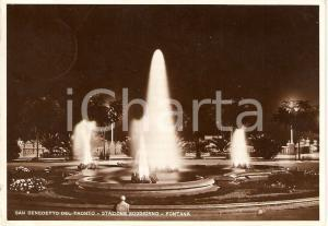 1938 SAN BENEDETTO DEL TRONTO (AP) Panorama notturno con FONTANA Cartolina FG VG