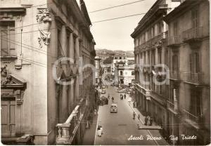 1956 ASCOLI PICENO Veduta aerea di VIA TRIESTE Animata *Cartolina FG VG