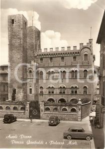 1955 ca ASCOLI PICENO Piazza Garibaldi e Palazzo MERLI Animata *Cartolina FG NV
