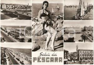 1958 PESCARA Vedutine con PIN-UP Cartolina animata FG VG