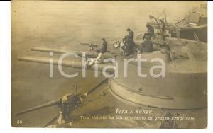 1915 TARANTO Vita di bordo - Tiro ridotto *Cartolina Pietro LANNAZZO cannoniere