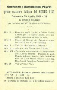 1928 BOBBIO PELLICE (TO) Onoranze a Bartolomeo PEYROT scalatore *Cartolina FP VG