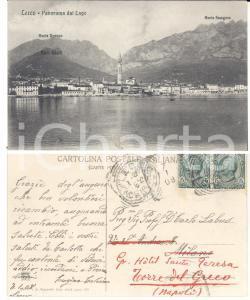 1908 LECCO Panorama del lago *Cartolina a Carlo LABUS FP VG