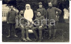 1918 WW1 GENOVA Ospedale militare - Soldati ricoverati con una suora *Foto FP