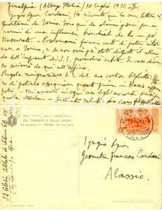 1932 FINALE LIGURE Ispettore Filippo RATTO bloccato dall'influenza *Cartolina