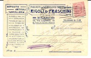 1917 MILANO Fabbricazione timbri RIGOLI & FRASCHINI *Cartolina INTESTATA FP VG