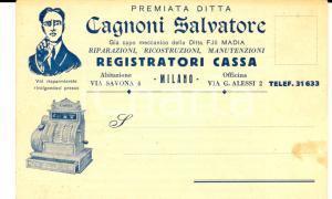 1932 MILANO Salvatore CAGNONI Registratori cassa *Cartolina INTESTATA FP