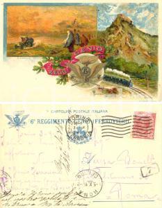 1916 WW1 Cartolina 6° Reggimento GENIO FERROVIERI ILLUSTRATA FP VG