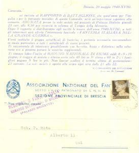 1940 BRESCIA Associazione Nazionale del Fante - Raduno battaglione Cartolina FP