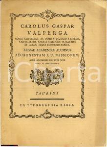 1773 TORINO Carlo Gaspare VALPERGA Ex jure civili