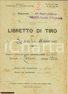 1932 GAETA 68° FANTERIA libretto di tiro Locati