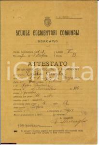 1917 BERGAMO BORFURO Pagella elementare Angela TRIBBIA