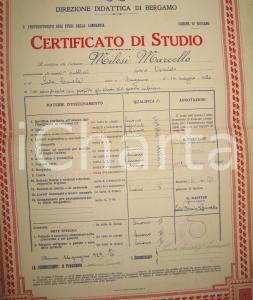 1929 BERGAMO Certificato di studio Marcello MILESI