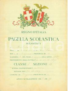 1929 BERGAMO Pagella Marcello MILESI Scuola elementare pubblica