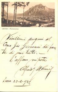 1921 LECCO Veduta panoramica col lago *Cartolina postale FP NV