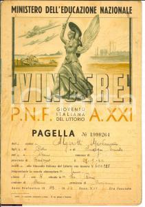 1943 ALZANO (BG) Pagella fascista Giovanna ALGAROTTI