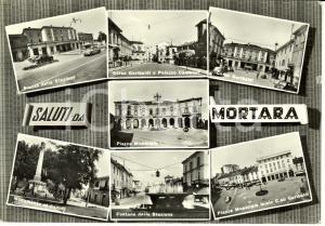1959 MORTARA (PV) Vedutine con stazione e municipio * Cartolina ANIMATA FG VG