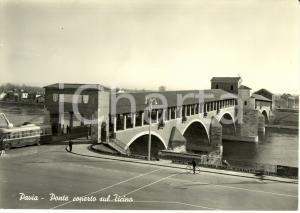 1960 ca PAVIA Il ponte coperto sul TICINO * Cartolina ANIMATA FG NV