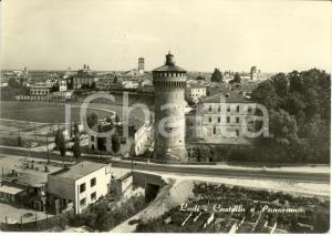 1959 LODI Castello e panorama dall'alto con stazione MOBIL *Cartolina FG VG