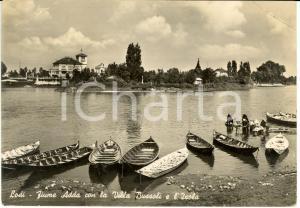 1941 LODI Villa BUSSOLI e isola da fiume ADDA *Cartolina ANIMATA FG VG