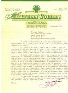 1951 GENOVA SAN QUIRICO Pastificio Fratelli VOIELLO *Lettera a un rappresentante