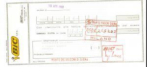 1968 MILANO via Quaranta - Ditta BIC spa  *Assegno pubblicitario