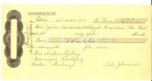 1929 MARKARYD (SVERIGE) Assegno Nils Johansson  pro MJOBERG