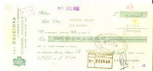 1952 MILANO Ditta DULCIORA di CECCATO E CREMASCHI *Assegno pubblicitario