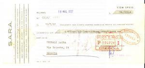1957 MILANO Società Anonima S.A.R.A. *Cambiale pubblicitaria