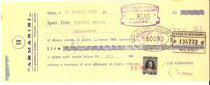 1954 DARFO Ditta ARMANINI Vini spumanti in bottiglia  *Assegno pubblicitario