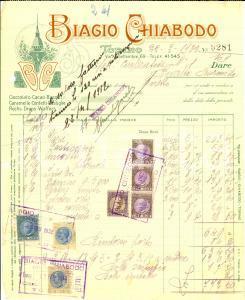 1932 TORINO Biagio CHIABODO Cioccolato *Fattura ILLUSTRATA con bolli