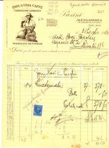 1934 ALESSANDRIA Industria caffè PASINI torrefazione *Fattura con bolli