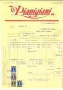 1951 CHIUSI (SI) Pastificio Alessandro PIANIGIANI *Fattura intestata