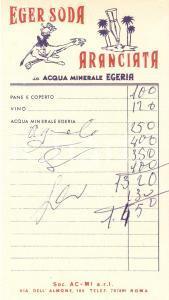 1965 ca ROMA Aranciata EGER SODA Società AC-MI *Ricevuta ILLUSTRATA 9x17 cm