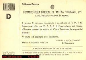 1938 MILANO Divisione Fanteria LEGNANO Rivista per il genetliaco del Re *Invito
