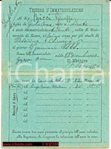 1888 Tessera Università Roma VALENTINO CERRUTI aut.
