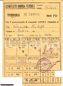 1945 (?) PADOVA UNRRA Tessile Rodolfo VERNIER Tessera