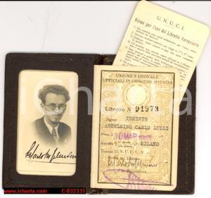 1938 MILANO Tessera U.N.U.C.I. Carlo Luigi ANSELMINO