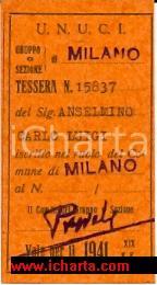 1941 MILANO Tessera U.N.U.C.I. Carlo Luigi ANSELMINO