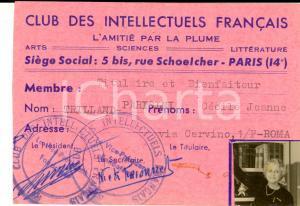 1960 ca PARIS Club des Intellectuels Français - Tessera Cécile TRILLAND-PARISINI