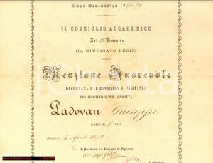 1879 COLLEGIO COLLEONI BERGAMO menzione d'onore