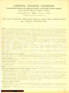 1954 KAISER MANHATTAN Frazer Scheda tecnica ITALIA