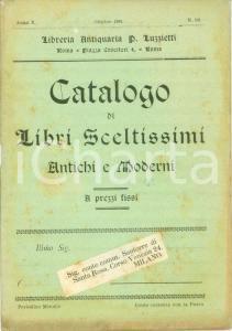 1899 ROMA Libreria antiquaria LUZZIETTI Catalogo libri sceltissimi antichi